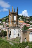 St Andrew's Presbyterian Church, St. George`s, Grenada. Historic 19th century, partially destroyed by Hurricane Ivan, St Andrew's Presbyterian Church in St Royalty Free Stock Photography