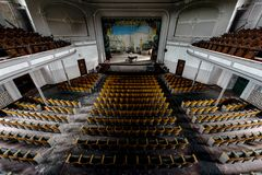 Historic Theater Looking to Stage with Piano & Curtain - Abandoned Theater Stock Photos