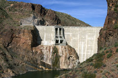 Historic Theodore Roosevelt Arizona Dam. Historic Theodore Roosevelt Dam in northeastern Arizona, USA. Named after, and dedicated by, U.S. President Theodore ( Royalty Free Stock Photos