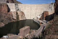 Historic Theodore Roosevelt Arizona Dam. Historic Theodore Roosevelt Dam in northeastern Arizona, USA. Named after, and dedicated by, U.S. President Theodore ( Royalty Free Stock Photo