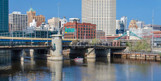 Historic Third Ward. A view across the Milwaukee River towards the Historic Third Ward of Milwaukee, Wisconsin Royalty Free Stock Photo