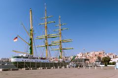 Historic three-masted ship anchored at the port of Cagliari, Sar Stock Photography
