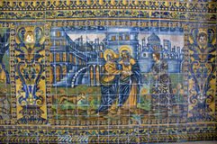 Historic tile mosaic in Barcelona Stock Photo