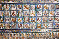 Historic Tiles wirh Royal Motifs Royalty Free Stock Photos