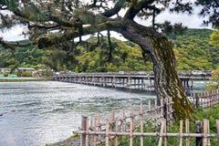 Historic Togetsu-kyo Bridge over Katsura River in Arashiyama, Kyoto, Japan.  Stock Images