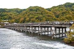 Historic Togetsu-kyo Bridge over Katsura River in Arashiyama, Kyoto, Japan.  Royalty Free Stock Photo