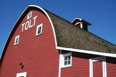 Historic Tolt Barn. Big red barn with the historic name of the town of Tolt, Washington which is now Carnation, Washington stock image