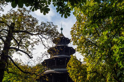 The historic tower Chinesischer Turm of Munich in Bavaria Royalty Free Stock Photo