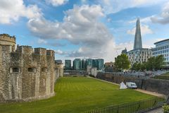 Historic Tower of London and Shard, England, Great Britain Royalty Free Stock Photography