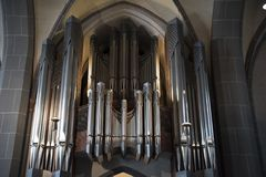 Organ St. Lambertus Church Dusseldorf royalty free stock photos
