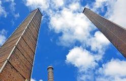 Historic towering chimney stacks Royalty Free Stock Photos