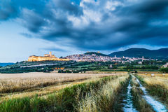 Historic town of Assisi at dusk, Umbria, Italy Royalty Free Stock Image