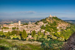 Historic town of Assisi at sunrise, Umbria, Italy Royalty Free Stock Photo