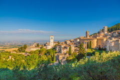 Historic town of Assisi at sunrise, Umbria, Italy Stock Photos