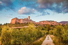 Historic town of Assisi at sunset, Umbria, Italy Stock Photography