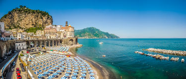 Historic town of Atrani, Amalfi Coast, Campania, Italy. Scenic picture-postcard view of the beautiful town of Atrani at famous Amalfi Coast with Gulf of Salerno stock image