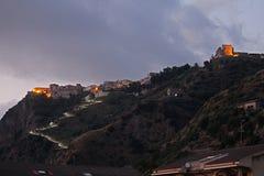 Fiumefreddo night. The historic town of fiumefreddo del bruzio in italy royalty free stock photography