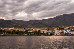 The historic town of Galaxidi, Greece, at dusk royalty free stock photography