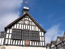 Historic Town Hall, England. Detail of half timbered 17th century town hall. Bridgnorth, Shropshire, England Stock Image