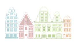 Historic Town Houses Vector Illustration Royalty Free Stock Photography