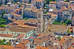Historic town of Hvar aerial view Stock Photography