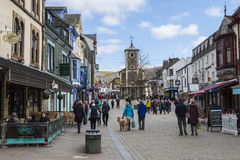 Historic Town of Keswick in the UK. KESWICK, UK - APRIL 7TH 2017: The beautiful town centre in Keswick, located in the Lake District in Cumbria, UK, on 7th Royalty Free Stock Photo
