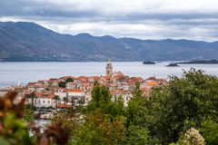 The historic town of Korcula. On the island of the same name in the Adriatic Sea royalty free stock images
