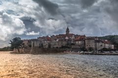 The historic town of Korcula. On the island of the same name in the Adriatic Sea stock photo