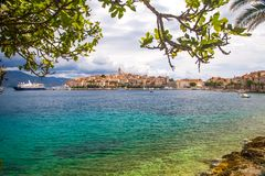 The historic town of Korcula. On the island of the same name in the Adriatic Sea stock photography