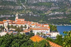 The historic town of Korcula. On the island of the same name in the Adriatic Sea stock images