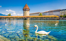 Historic town of Lucerne with famous Chapel Bridge, Canton of Lu Royalty Free Stock Photo