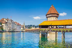Historic town of Lucerne with famous Chapel Bridge, Switzerland Stock Photography