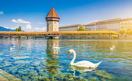 Historic town of Lucerne with famous Chapel Bridge, Switzerland Royalty Free Stock Photos