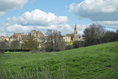 Historic town of Malmesbury and its Abbey Church, Wiltshire, UK. View of the historic town of Malmesbury and its picturesque Abbey Church on the hill, Malmesbury Royalty Free Stock Photo