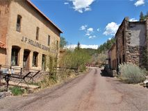 Historic Town of Mogollon, New Mexico. Mogollon is a former mining town located in the Mogollon Mountains in Catron County, New Mexico. It was founded in the stock photo