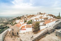 Historic town of Monsaraz located on the hill in Alentejo, Portu. Historic red roofed Monsaraz located on the hill in Alentejo, Portugal Royalty Free Stock Photo