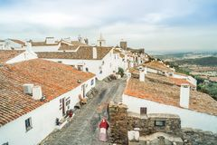 Historic town of Monsaraz located on the hill in Alentejo, Portu. Historic red roofed Monsaraz located on the hill in Alentejo, Portugal Stock Photography