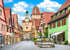 Historic town of Rothenburg ob der Tauber, Bavaria, Germany. Beautiful view of the historic town of Rothenburg ob der Tauber, Franconia, Bavaria, Germany Stock Image