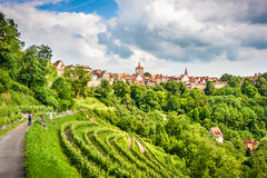Historic town of Rothenburg ob der Tauber, Franconia, Bavaria, Germany. Beautiful view of the historic town of Rothenburg ob der Tauber, Franconia, Bavaria stock image