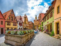 Historic town of Rothenburg ob der Tauber, Franconia, Bavaria, Germany. Beautiful view of the historic town of Rothenburg ob der Tauber, Franconia, Bavaria stock photography