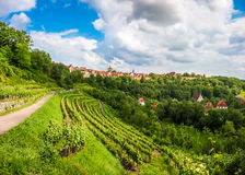 Historic town of Rothenburg ob der Tauber, Franconia, Bavaria, Germany. Beautiful view of the historic town of Rothenburg ob der Tauber skyline, Franconia royalty free stock photography