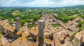 Historic town of San Gimignano with Tuscan countryside, Tuscany, Italy Royalty Free Stock Photo