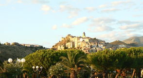 Scalea, Italy. The View of Historic town of Scalea, Italy Stock Photos