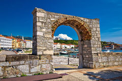 Historic town of Senj arch gate. And waterfront view, Primorje, Croatia Stock Image