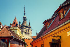 Historic town Sighisoara. City in which was born Vlad Tepes, Dracula. SIGHISOARA, ROMANIA - JULY 08, 2015: historic town Sighisoara. City in which was born Vlad Royalty Free Stock Photography