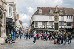 Historic town square with people downtown medieval Canterbury city, Kent, England. CANTERBURY, ENGLAND - JUNE 07, 2017: Old historic town square with people Stock Photo