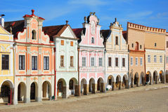 Historic Town square in Telc Royalty Free Stock Photos