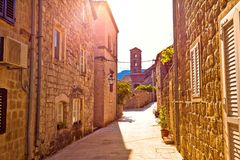 Historic town of Ston street and church view. Peljesac peninsula, Dalmatia region of Croatia Royalty Free Stock Images