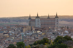 Historic town of Toledo with fortress Alcazar, Spain Royalty Free Stock Images