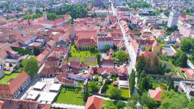 Historic town of Varazdin center architecture aerial view. Northern Croatia stock footage